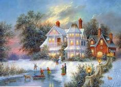 Christmas Scenes Oil Painting #SN064:Snowscape Christmas Scene S
