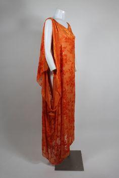 ~1920's Burnout Velvet Asymmetrical Dress in Vibrant Orange~