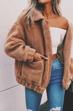 Simplee Faux lambswool oversized jacket coat Winter black warm hairly jacket Women autumn outerwear 2017 new female overcoat - TakoFashion - Women's Clothing & Fashion online shop Mode Outfits, Winter Outfits, Fashion Outfits, Womens Fashion, Fall Fashion, Winter Dresses, Style Fashion, Fashion Coat, Fashion 2016