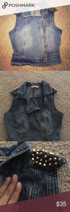 Jean side zip vest with gold studs Never worn, super adorable on but I grew before I could wear it :( Jackets & Coats Vests