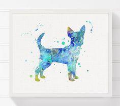 Blue Chihuahua Painting Chihuahua Art Print by MiaoMiaoDesign