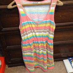 "Striped Sundress Super cute sundress! cinched in the middle with elastic. In good condition! Hits me at mid thigh- I am 5'6"". Forever 21 Dresses Mini"