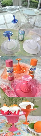 Cake stands from repurposed glass cups and plates