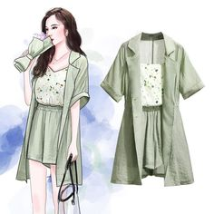 Women's Style: Women Summer Floral Sleeveless Slip Vest + Elastic High Waist Casual Shorts + Short Sleeve Plus Size Loose Coat Three Piece Set Girls Fashion Clothes, Kpop Fashion Outfits, Korean Outfits, Fashion Drawing Dresses, Fashion Illustration Dresses, Fashion Design Drawings, Fashion Sketches, Dress Sketches, Kawaii Clothes