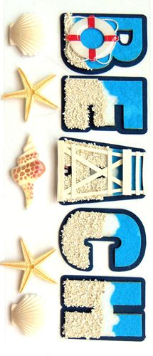 EK Success - Jolee's Boutique - 3 Dimensional Stickers with Epoxy and Glitter Accents - Beach and Shells at Scrapbook.com $4.39