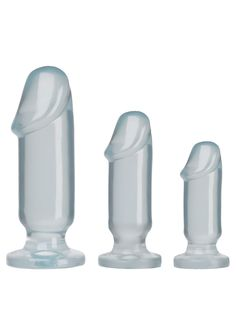 CRYSTAL JELLIES ANAL STARTER KIT : Work your way up to backdoor bliss, with the Crystal Jellies Anal Starter Kit! Perfect for beginners, each plug features a flat comfortable base for easy wearability, while the pronounced head and smooth shaft is sure to make for some jellie jammin' satisfaction!