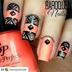 #Repost @baroquennails with @repostapp #AllThePrettyNails ・・・ ◇Nail Art Stamping - Neon Negative Space◇ Hi guys! I just have a repost for you today, been struck for time recently. Will have a new design for you on Monday though :) I used @salonperfect Flamingo Flair for this look and stamped on a design from #ciciandsisi plate 21 using @kleancolor Black and sealed the design with #sechevite Top Coat ♡♡ Have a great weekend :) #nailart #nails #naildesign #baroquennails #manicure