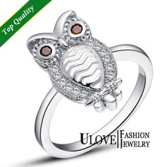 Vintage AAA Zircon Stones Silver Owl Ring Eagle by ULoveFashion, $6.99