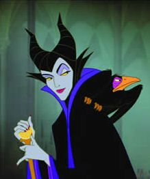 My favorite Disney villain....scared the CRAP out of me. I've learned to love her though.  You can put all the costuming and make up on Angelie Jolie, but her lips are just TOO THICK to be an EVIL Maleficent!