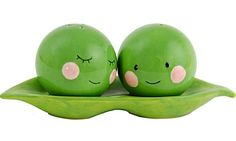 Two Peas in a Pod Salt and Pepper Shakers