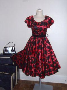 Vintage Full Skirt Dress 80's Dress Red by materialmemorieslane, $60.00