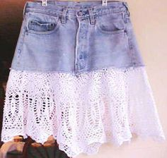 Crocheting onto the bottom of a denim skirt- This is just brilliant.  If I ever get good enough at crochet I would totally do that because it looks awesome!