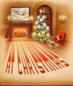 Christmas Fireplace, Christmas Past, Retro Christmas, All Things Christmas, Christmas Holidays, Christmas Ideas, Christmas Card Images, Christmas Greeting Cards, Christmas Greetings