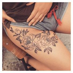 These 45 Thigh Tattoos For Women Might Just Be The Best Ever ❤ liked on Polyvore featuring accessories, body art and tattoos