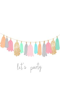 Party tassels garland white pink mint gold iphone wallpaper phone background lock screen