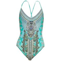 Camilla Traje de Luce-print embellished swimsuit (950 BRL) ❤ liked on Polyvore featuring swimwear, one-piece swimsuits, blue multi, strappy one piece swimsuit, swimsuit swimwear, print one piece swimsuit, one piece swimsuit and boho swimwear