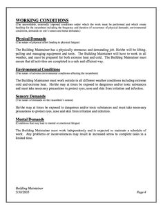 Resume Example For Building Maintenance  HttpResumesdesignCom
