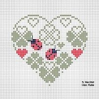 Free Biscornu Cross Stitch Patterns | ... elegant heart with clover and ladybugs... no color chart available, just use the pattern chart as your color guide.. or choose your own colors...