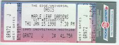 OASIS Rare Maple Leaf Gardens 1998 Full Ticket Noel Mint The Edge Universal  From The Mighty Finwah Collection  Safely Stored For Over 21 Years   UNIQUE ITEMS FOR UNIQUE PEOPLE  Shipping will be within 2 days of your payment  All Sales are Guaranteed Satisfaction  We are Fans so we know what fans Expect Concerts, Oasis, Ticket, Toronto, Mint, Gardens, Unique, People, Collection