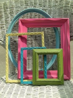 Beachy Bright Frame Set -  5 Gorgeous Frames - Turquoise, Aqua, Green, Yellow, Pink