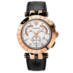 Versace V-Race Chrono Mens Watch Steel IPRG Silver Dial Black Strap-23C80D002-S009