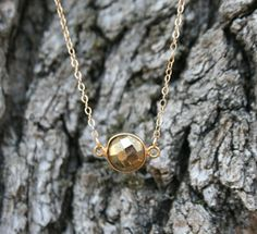 Pyrite Coin Necklace by WafflesandHoney on Etsy, $38.00