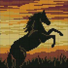 Horse in sunset x-stitch