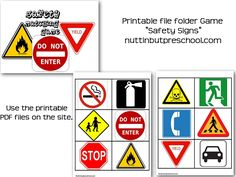 safety sign graphics - can make game out of it (use generic file folder game format); answer correctly and move ahead designated spaces