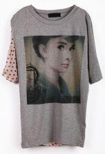 Grey Short Sleeve Polka Dot Hepburn Print T-Shirt $28.23 #SheInside