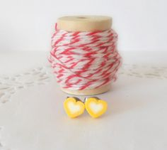 Yellow Heart Stud Earrings For Children // by theblackstarboutique, $10.00
