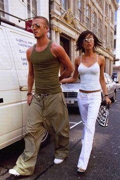 Victoria & David Beckham in London, 2001 Vic Beckham, Bend It Like Beckham, Victoria And David, David And Victoria Beckham, Victoria Beckham Outfits, Victoria Beckham Style, Spice Girls, 2000s Fashion, Fashion Outfits