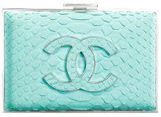 Chanel Python-Embossed Velvet Clutch