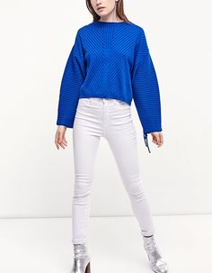 Jersey with lace-up sleeve detail - Knitwear   Stradivarius Other Countries