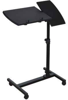 Laptop Over Bed Table Adjustable Rolling Portable Mobile Hospital Tray Stand