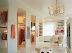 Walk in closet with seating