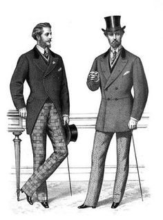 men 1870-1900: shirts and neckties, vests, coats and trousers. Coat alternatives were frock coats, morning coats, sack coats and Norfolk jackets.