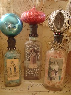 Christmas ornaments become bottle tops for Altered bottles