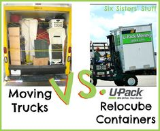 Wondering how you should move? Check out our Moving Trucks VS U-Pack Relocube Containers from sixsis Pods Moving, Moving Day, Moving Tips, Moving House, Moving Containers, Packing To Move, Packing Tips, Moving Cross Country, Six Sisters