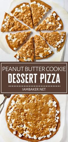 Peanut butter lovers, rejoice! Peanut Butter Cookie Dessert Pizza is a must-have. This recipe is easy to make and fun to eat, with a simple peanut butter cookie crust covered in marshmallows and topped with a homemade peanut butter sauce. Save this and try it! Elegant Desserts, Desserts For A Crowd, Fancy Desserts, Cookie Desserts, Cookie Recipes, Dessert Recipes, Easy Peanut Butter Cookies, Peanut Butter Sauce, Homemade Peanut Butter