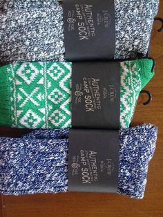 "- ""J.Crew camp socks"" - Gray speckled - Green patterned - Blue speckled"