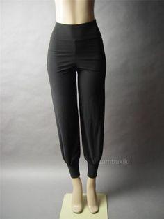 Black High Waist Women Stretch Draped Slouchy Track Style Peg Leg Pants / sporty style / Tambukiki Ebay