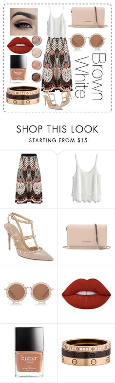 """""""Brown, White #OOTD-7"""" by denisdp ❤ liked on Polyvore featuring Temperley London, Chicwish, Valentino, Givenchy, House of Holland, Terre Mère, Lime Crime and Cartier"""