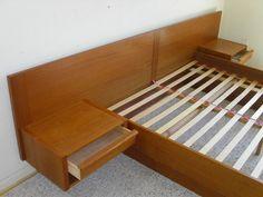 Queen Danish Modern Teak Platform Bed By Jesper + Attached Floating Nightstands #DanishModern