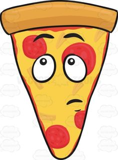 Slice Of Pepperoni Pizza With Wondering Look On Face Emoji Cartoon ...