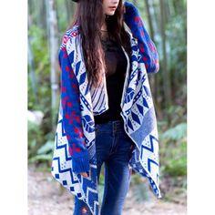 Ethnic Turn-Down Collar Geometric Long Sleeve Cardigan For Women