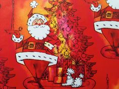 Vintage Christmas Gift Wrapping Paper by Tie Tie - Jolly Smug Red Santa on Christmas Eve with Poodle Dog- 1 Unused Full Sheet Gift Wrap