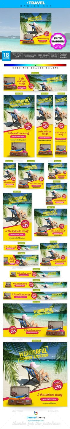 Buy Travel Banner by bannertheme on GraphicRiver. Travel Banner Wonderful banner designs for 18 different sizes ready for all your products, services, campaigns and pr. Make Design, Web Design, Graphic Design, Travel Ads, Travel Posters, Poster Ads, Google Ads, Banner Template, Social Media Design