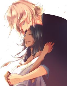 Yoruichi & Urahara   Bleach #manga #fanart. I love how he's looking at her.