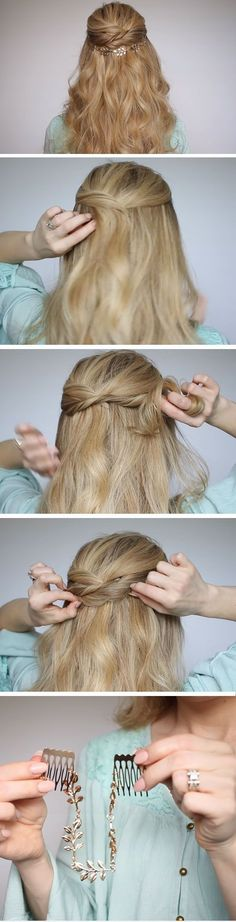 Twisted Half-up Half-down | Quick DIY Prom Hairstyles for Medium Hair | Quick and Easy Homecoming Hairstyles for Long Hair #diyhairstyles