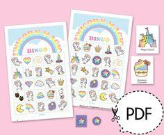Deze afdrukbare bingo spel kit wil wat pret in unicorn thema partij. Deze kit wo… This printable bingo game kit Printable Bingo Games, Bingo Card Template, Bingo Cards, Printables, Happy Birthday Girls, Birthday Ideas, Rainbow Cupcakes, Have Some Fun, Card Games